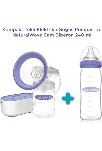Lansinoh Kompakt Tekli Elektrikli Göğüs Pompası ve NaturalWave Cam Biberon 240 ml