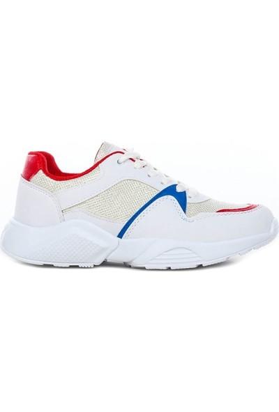 Coollest 001 Beyaz Kırmızı Bağcıklı Kadın Spor Ayakkabı 202046