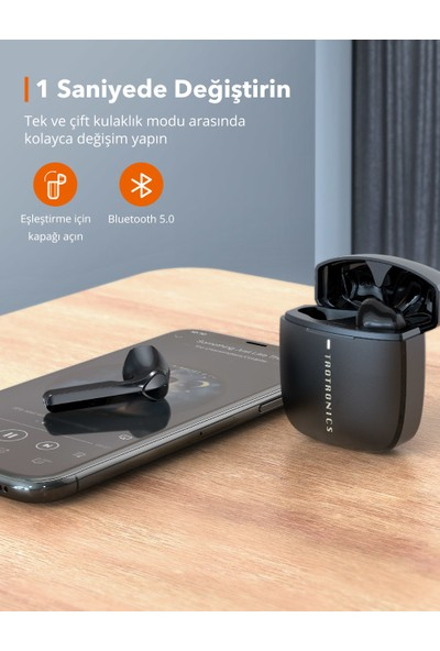 TaoTronics SoundLiberty 92 Hi-Fi Stereo Şarj Kılıflı IPX8 Ter/Su Dayanıklı Tek/Çift Kullanım Bluetooth Kulaklık 30 Saat Müzik