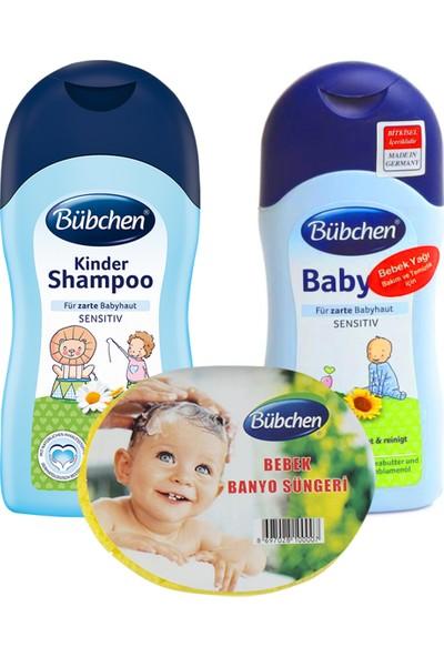 Bübchen 400 ml şampuan +400ml bebek yağı + sünger