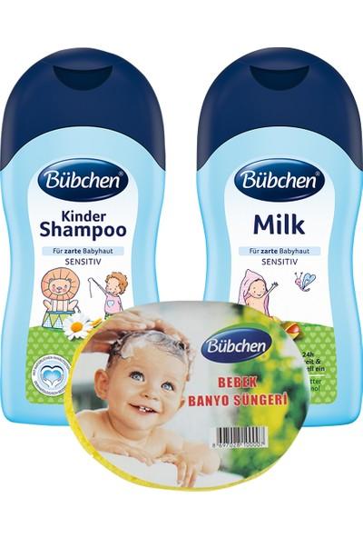 Bübchen 400 ml şampuan +400ml Nemlendirici süt + sünger
