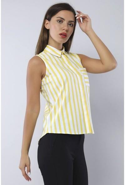 Pera Sıfır Kol Çizgili Sarı Gömlek
