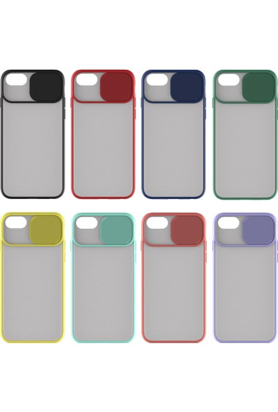 Kny Apple iPhone 8 Kılıf Kamera Koruma Kapaklı Sürgülü Renkli Lensi Kapak + Cam Ekran Koruyucu Siyah