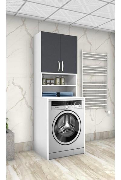 Ars Mobilya Antrasit 55'lik Çamaşır Makinesi Dolabı Banyo Dolabı Raflı Kapaklı Dolap