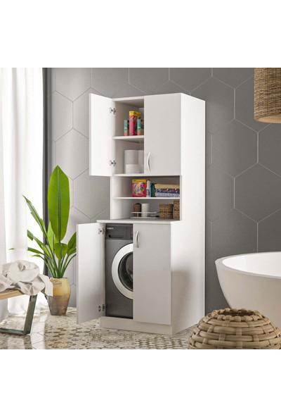Ars Mobilya Çamaşır Makinesi Banyo Kapaklı Dolabı