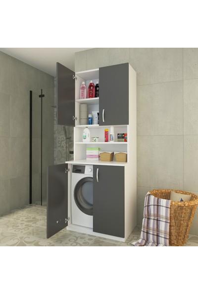 Ars Mobilya Antrasit Banyo Dolabı Çamaşır Makinesi Dolabı 4 Kapaklı Raflı Dolap