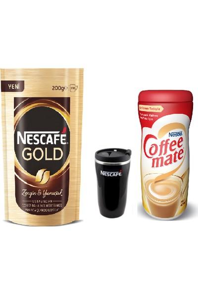 Nestle Nescafe Gold 200 gr + Coffemate 400 gr + Termal Kupa