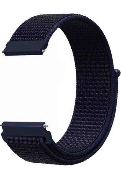 Kny Huawei Watch Gt 2 Pro 46mm (22mm) İçin Kumaş Desenli Çırtçırlı Kayış-Kordon Lacivert