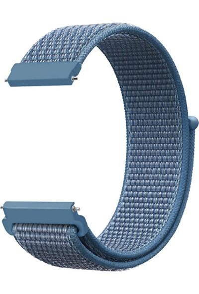 Kny Huawei Watch Gt 2 Pro 46mm (22mm) İçin Kumaş Desenli Çırtçırlı Kayış-Kordon Mavi
