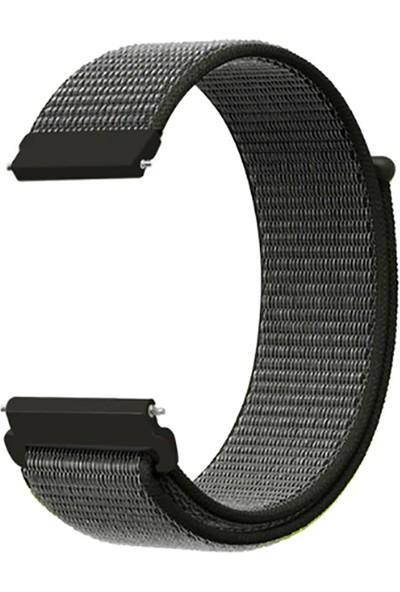 Kny Huawei Watch Gt 2 Pro 46mm (22mm) İçin Kumaş Desenli Çırtçırlı Kayış-Kordon Koyu Gri