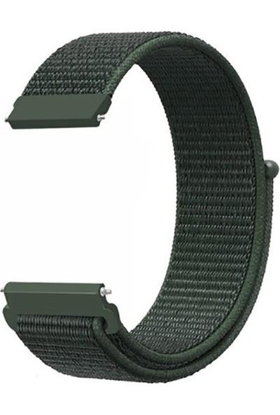 Kny Huawei Watch Gt 2 Pro 46mm (22mm) İçin Kumaş Desenli Çırtçırlı Kayış-Kordon Yeşil