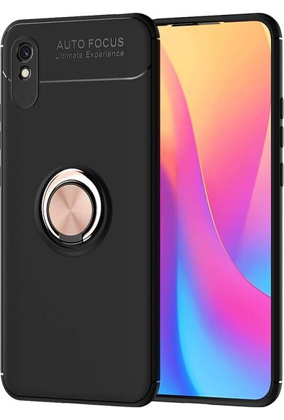 Kny Xiaomi Redmi 9A Kılıf Yüzüklü Manyetik Ravel Silikon + Nano Cam Ekran Koruyucu Rose Gold