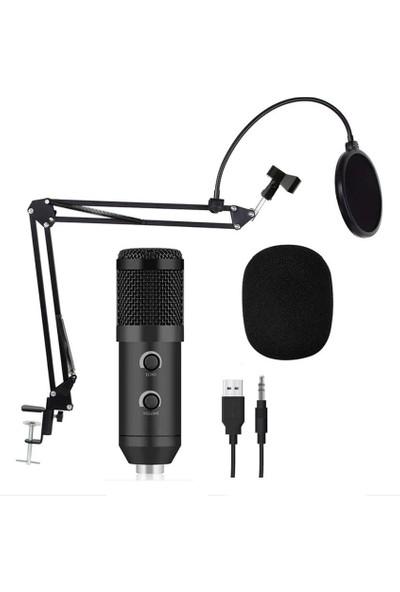 Sezy Music Dj M800-U USB Stüdyo Youtuber Twitch Kayıt Mikrofonu Masa Standı - Siyah