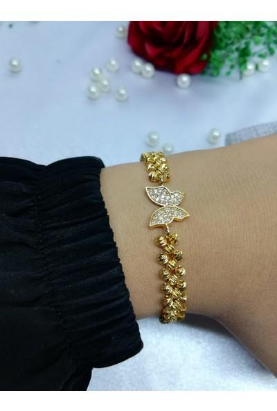 Hediye Butiğim Dorika Taşlı Kelebek Figürlü Bayan Bileklik