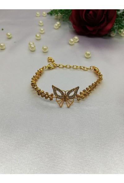 Hediye Butiğim Zirkon Taşlı Kelebek Figürlü Dorika Bayan Bileklik