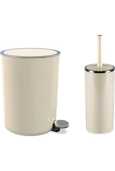 Primanova Lenox Pedallı Çöp Kovası + Lenox Tuvalet Fırçası Seti Seti Bej