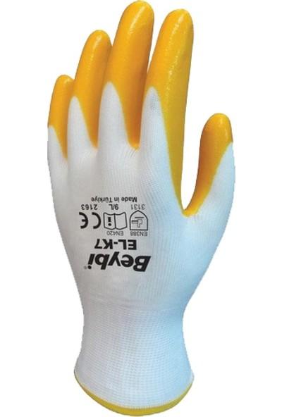 Pazarız Beybi Pn7 Nitril Eldiven Beyaz Sarı Iş - Işçi Eldiveni