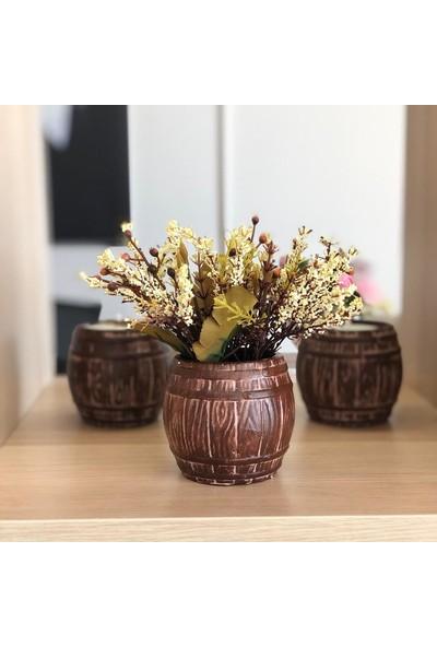 Masif Dekor Ahşap Fıçı Saksıda Mum ve Yapay Çiçek 3'lü Set