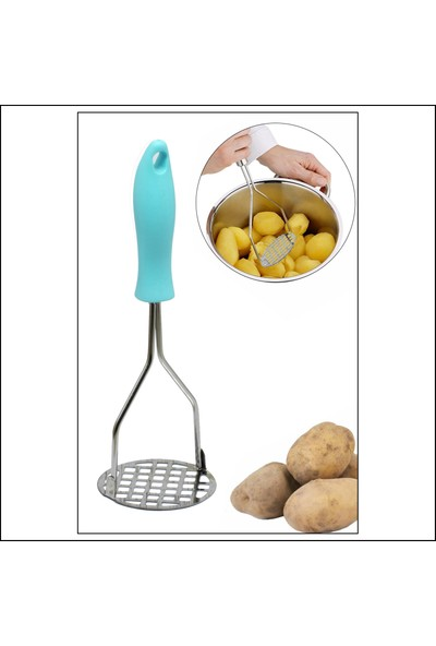 Kitchen Love Renkli Plastik Saplı - Metal Patates Ezici