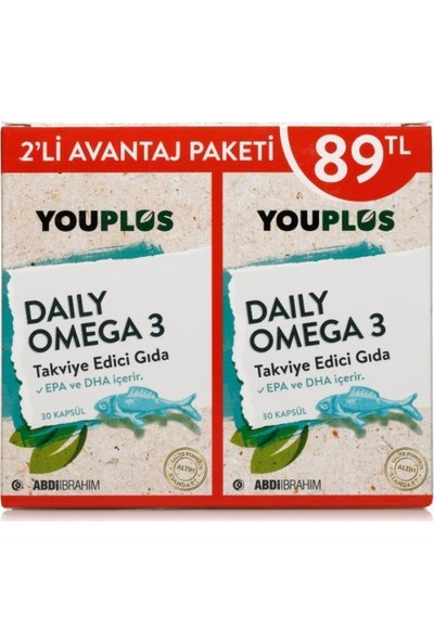 You-Plus Daily Omega 3 30 Kapsül 2'li Paket