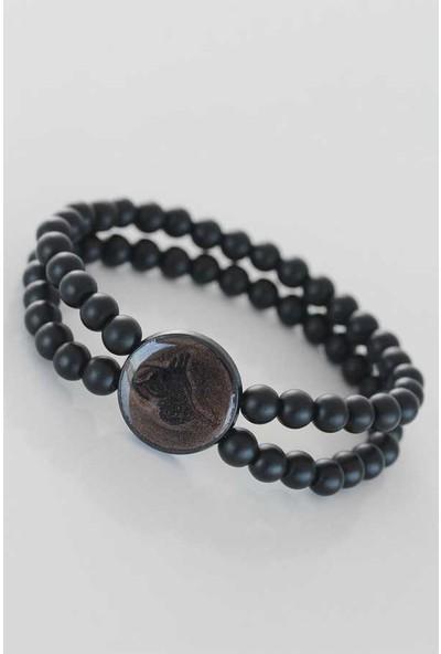 Clariss Kahverengi Metal Üzerine Siyah Osmanlı Tuğra Figürlü Siyah Renk Çift Sıra Doğal Taş Erkek Bileklik