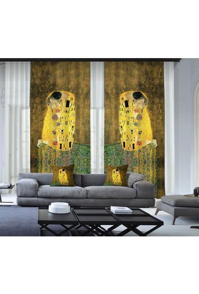 Cipcici Gustav Klimt - Öpücük 2 Kanat Blackout Perde 280x260 cm