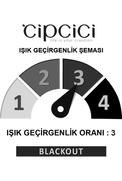 Cipcici Etnik Fil Desenli 2 Kanat Blackout Perde 280x260 cm