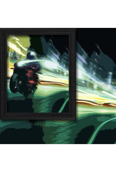 Cipcici Yeşil Motosiklet Illustrasyonu 2 Kanat Blackout Perde 280x260 cm