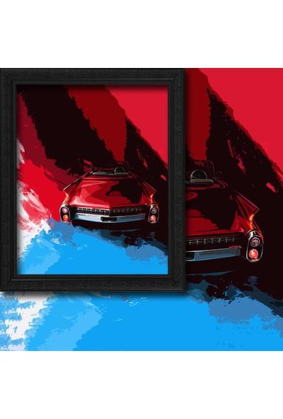 Cipcici Mavi-Kırmızı Klasik Araba 2 Kanat Blackout Perde 280x260 cm