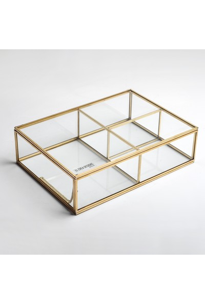El Crea Designs Gold Pirinç Brass 3 Bölmeli Kapaklı Cam Takı Aksesuar Kutusu