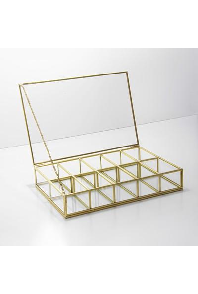 El Crea Designs Gold Pirinç Brass Dekoratif Kapaklı Makyaj, Takı, Aksesuar Kutusu 10 Bölmeli