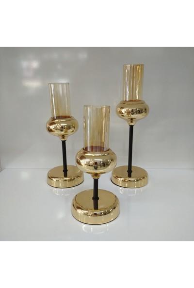 Arın Home 3'lü Dekoratif Metal,camlı Gold Şamdan