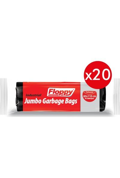 Floppy Endüstriyel Jumbo Boy Çöp Torbası Siyah 80 x 110 cm 10'lu 400 gr x 20