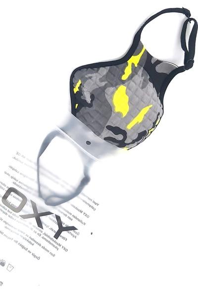 Oxy Ayarlanabilen Sarı Kamuflaj Kumaş Yıkanabilir Maske