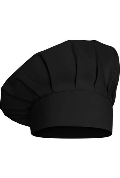 Dr. Mia Kadın-Erkek Şef Aşçı Kep Aşçı Şapkası Mantar Kep Alpaka Kumaş Siyah