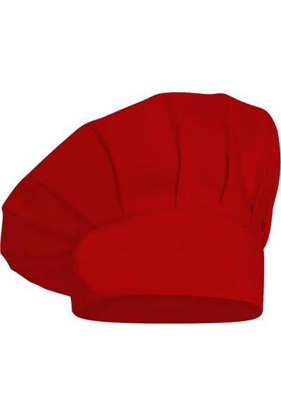 Dr. Mia Kadın-Erkek Şef Aşçı Kep Aşçı Şapkası Mantar Kep Alpaka Kumaş Kırmızı