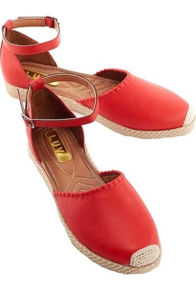 Luvi 900 Kırmızı Cilt Kadın Sandalet Kırmızı