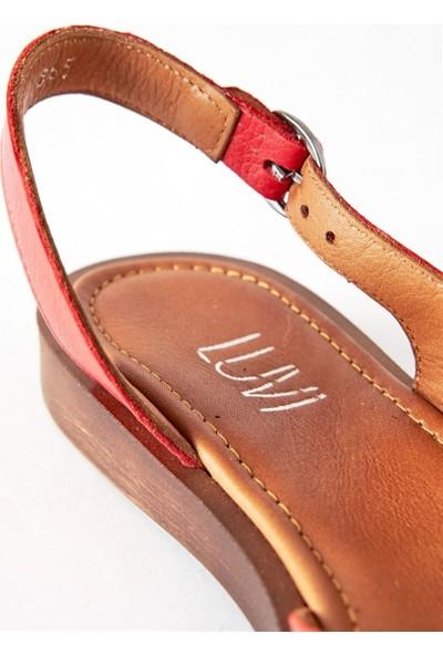 Luvi 565 Kırmızı Kadın Sandalet Kırmızı