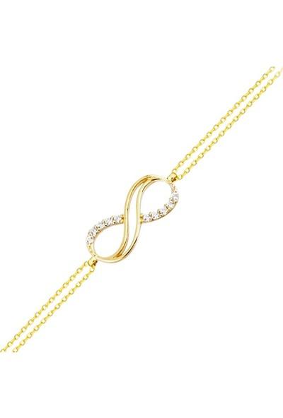 Sembol Gold Altın Zincir Sonsuzluk Bileklik 14K Gold Taşlı