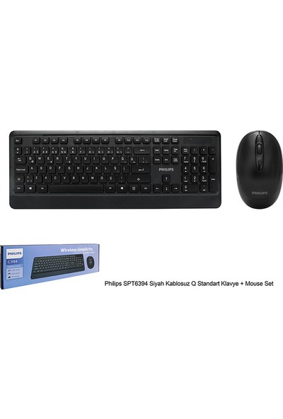Philips SPT6394 Siyah Kablosuz Q Standart Klavye + Mouse Set