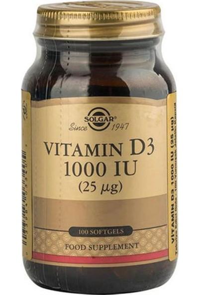 Solgar Vitamin D3 1000 Iu 100 Yumusak Kapsül