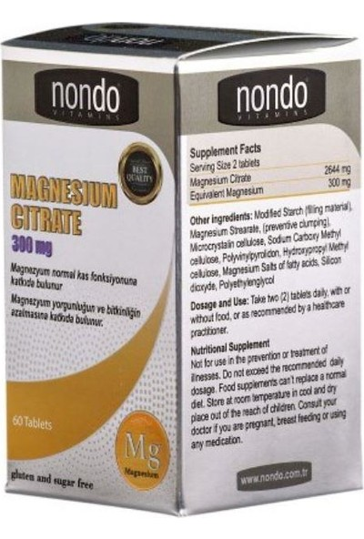 Nondo Magnesium Citrate 300MG 60 Tablet