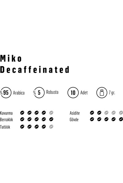 Miko Coffee Decaffeinated One Cup Coffee Kafeinsiz Filtre Kahve 10'lu