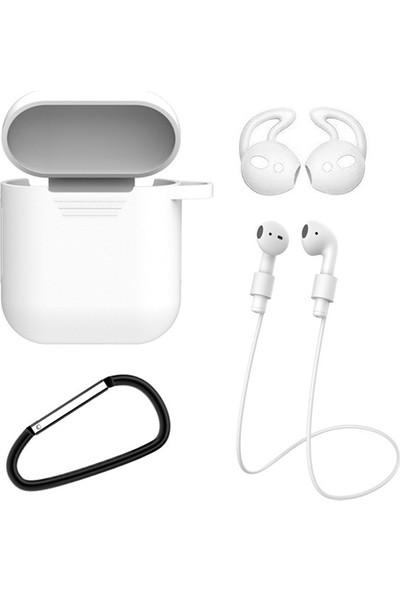 Ssmobil Apple Airpods İçin 4ü 1 Arada Silikon Kılıf + Kulaklık Askısı + Kulaklık Silikonu + Anahtarlık