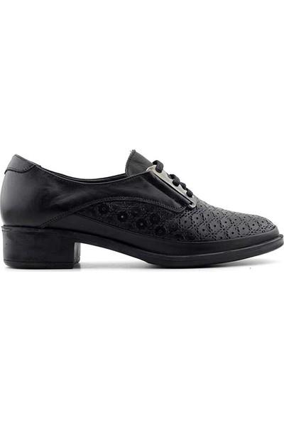 Evida 2471 Deri Kadın Ayakkabı-Siyah