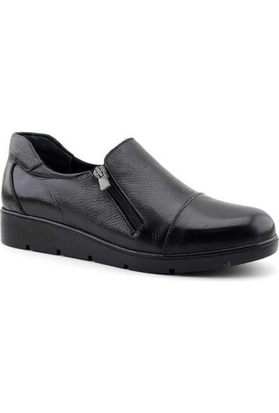 Evida 2544 Deri Kadın Ayakkabı-Siyah