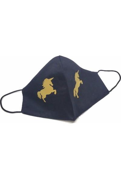 Siyah Gold Unicorn Yıkanabilir %100 Pamuk Yetişkin ve Çocuk Maskesi