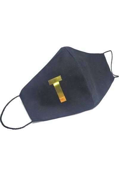 Siyah Gold T Harfi Yıkanabilir %100 Pamuk Yetişkin ve Çocuk Maskesi
