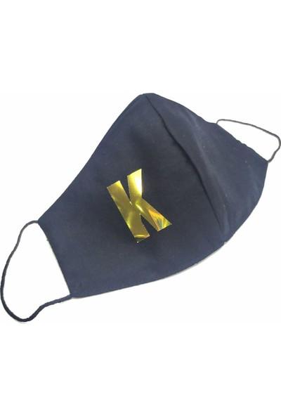 Siyah Gold K Harfi Yıkanabilir %100 Pamuk Yetişkin ve Çocuk Maskesi