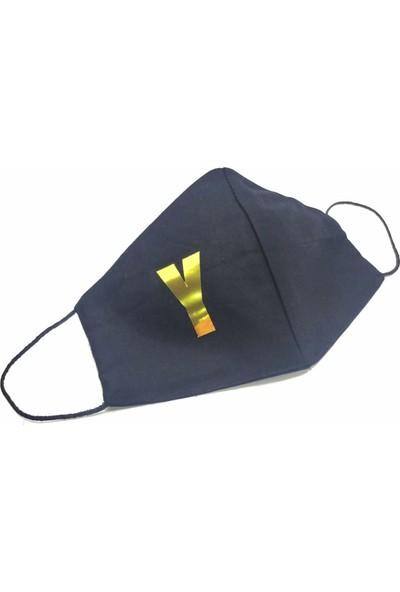 Siyah Gold Y Harfi Yıkanabilir %100 Pamuk Yetişkin ve Çocuk Maskesi